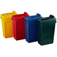 Rubbermaid Slim Jim 23 Gallon 4-Stream Recycle Station with Label Kit and Green Open Top, Red Bottle / Can, Yellow Bottle / Can, and Blue Mixed Recycle Lids