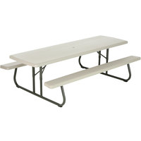 Lifetime 880123 30 inch x 96 inch Rectangular White Plastic Folding Picnic Table with Attached Benches   - 10/Pack