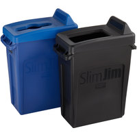 Rubbermaid Slim Jim 16 Gallon 2-Stream Recycle Station with Label Kit and Blue Mixed Recycle and Black Open Top Lids
