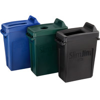 Rubbermaid Slim Jim 16 Gallon 3-Stream Recycle Station with Label Kit and Black Open Top, Green Bottle / Can, and Blue Paper Lids