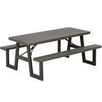Lifetime 60233 30 inch x 72 inch Rectangular Brown Plastic Folding Picnic Table with Attached Benches