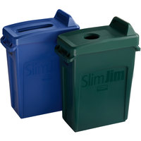 Rubbermaid Slim Jim 16 Gallon 2-Stream Recycle Station with Label Kit and Green Bottle / Can and Blue Paper Lids