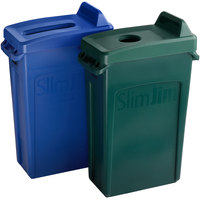 Rubbermaid Slim Jim 23 Gallon 2-Stream Recycle Station with Label Kit and Green Bottle / Can and Blue Paper Lids