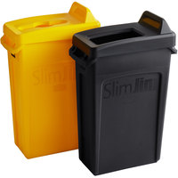 Rubbermaid Slim Jim 23 Gallon 2-Stream Recycle Station with Label Kit and Black Open Top and Yellow Mixed Recycle Lids