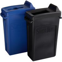 Rubbermaid Slim Jim 23 Gallon 2-Stream Recycle Station with Label Kit and Blue Mixed Recycle and Black Open Top Lids
