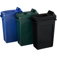 Rubbermaid Slim Jim 23 Gallon 3-Stream Recycle Station with Label Kit and Black Open Top, Green Bottle / Can, and Blue Paper Lids