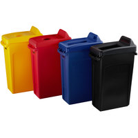 Rubbermaid Slim Jim 23 Gallon 4-Stream Recycle Station with Label Kit and Black Open Top, Red Bottle / Can, Yellow Bottle / Can, and Blue Paper Lids