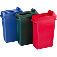 Rubbermaid Slim Jim 23 Gallon 3-Stream Recycle Station with Label Kit and Green Open Top, Red Bottle / Can, and Blue Paper Lids