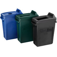 Rubbermaid Slim Jim 16 Gallon 3-Stream Recycle Station with Label Kit and Black Open Top, Blue Bottle / Can, and Green Paper Lids