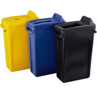 Rubbermaid Slim Jim 23 Gallon 3-Stream Recycle Station with Label Kit and Black Open Top, Yellow Bottle / Can, and Blue Paper Lids