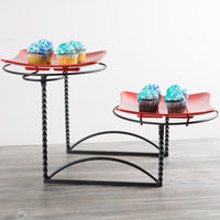 American Metalcraft TLTS1224 Ironworks Two-Tier Round Display Stand with Twisted Legs