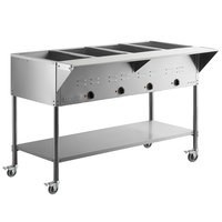 ServIt Four Pan Open Well Mobile Electric Steam Table with Undershelf - 120V, 2000W