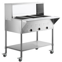 ServIt Three Pan Open Well Mobile Electric Steam Table with Undershelf and 43 inch Overshelf with Sneeze Guard - 120V, 1500W