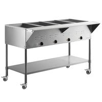ServIt Four Pan Open Well Mobile Electric Steam Table with Undershelf - 208/240V, 3000W