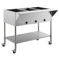 ServIt Three Pan Open Well Mobile Electric Steam Table with Undershelf - 120V, 1500W