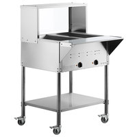 ServIt Two Pan Open Well Mobile Electric Steam Table with Undershelf and 29 inch Overshelf with Sneeze Guard - 120V, 1000W