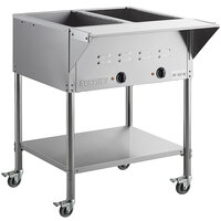 ServIt Two Pan Open Well Mobile Electric Steam Table with Undershelf - 120V, 1000W