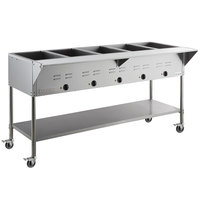 ServIt Five Pan Open Well Mobile Electric Steam Table with Undershelf - 208/240V, 3750W