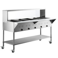 ServIt Five Pan Open Well Mobile Electric Steam Table with Undershelf and 71 inch Overshelf with Sneeze Guard - 208/240V, 3750W