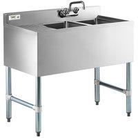 Regency 2 Bowl Underbar Sink with One Drainboard - 36 inch x 18 3/4 inch