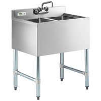 Regency 2 Bowl Underbar Sink with Faucet - 24 inch x 18 3/4 inch
