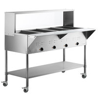 ServIt Four Pan Open Well Mobile Electric Steam Table with Undershelf and 57 inch Overshelf with Sneeze Guard - 120V, 2000W