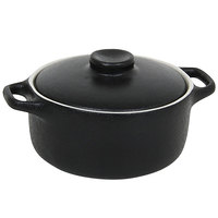 Front of the House DBO134BKC23 Kiln 7 oz. Black Round Stoneware Ovenware Dish with Lid - 12/Case