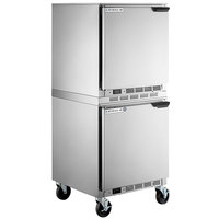 Beverage-Air UCF27AHC-24 and UCR27AHC-24 Double Stacked 27 inch Undercounter Freezer and Refrigerator with Left Hinged Doors