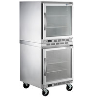 Beverage-Air UCF27AHC-25 and UCR27AHC-25 Double Stacked 27 inch Glass Door Undercounter Freezer and Refrigerator with 6 inch Casters