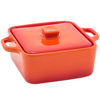 Front of the House DBO136ORC23 Kiln 8 oz. Blood Orange Square Stoneware Ovenware Dish with Lid - 12/Case
