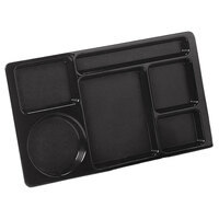 Carlisle 61503 Space Saver 8 3/4 inch x 15 inch Black ABS Plastic 6 Compartment Tray