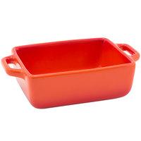 Front of the House DBO137ORC23 Kiln 16 oz. Blood Orange Rectangle Stoneware Ovenware Dish - 12/Case