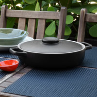 Front of the House DBO140BKC20 Kiln 56 oz. Black Round Stoneware Ovenware Dish with Lid - 2/Case