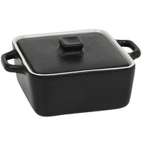 Front of the House DBO136BKC23 Kiln 8 oz. Black Square Stoneware Ovenware Dish with Lid - 12/Case
