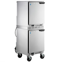 Beverage-Air UCF20HC-24 and UCR20HC-24 Double Stacked 20 inch Shallow Depth, Low Profile Undercounter Freezer and Refrigerator with Left Hinged Doors
