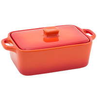 Front of the House DBO135ORC23 Kiln 10 oz. Blood Orange Rectangle Stoneware Ovenware Dish with Lid - 12/Case