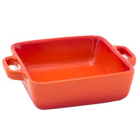 Front of the House DBO138ORC23 Kiln 14 oz. Blood Orange Square Stoneware Ovenware Dish - 12/Case