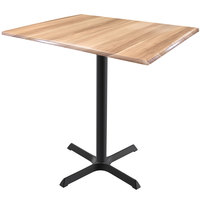 Holland Bar Stool OD211-3036BWOD3248NAT EnduroTop 32 inch x 48 inch Natural Wood Laminate Indoor / Outdoor Counter Height Table with Cross Base