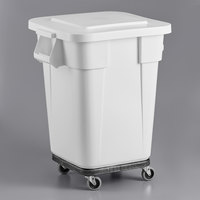 Rubbermaid BRUTE 40 Gallon White Square Trash Can with Lid and Dolly