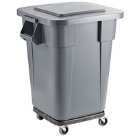 Rubbermaid BRUTE 40 Gallon Gray Square Trash Can with Lid and Dolly