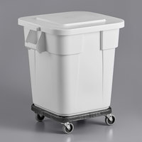 Rubbermaid BRUTE 28 Gallon White Square Trash Can with Lid and Dolly