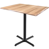 Holland Bar Stool OD211-3042BWOD3248NAT EnduroTop 32 inch x 48 inch Natural Wood Laminate Indoor / Outdoor Bar Height Table with Cross Base