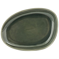 Front of the House DSP032GRP23 Kiln 8 inch x 6 inch Leek Porcelain Oval Plate - 12/Case