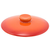 Front of the House DLI133ORC23 Kiln 4 3/4 inch Blood Orange Round Stoneware Lid for 16 oz. Ovenware Dish - 12/Case