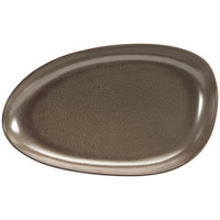 Front of the House DDP062ESP22 Kiln 11 inch x 7 inch Mocha Oval Porcelain Plate - 6/Case