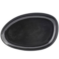 Front of the House SPT056BKP20 Kiln 14 inch x 9 inch Pepper Porcelain Oval Plate - 2/Pack