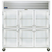 Traulsen G32001-032 76 1/4 inch G Series Glass Half Door Reach-In Refrigerator with Left / Left / Right Hinged Doors
