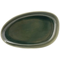 Front of the House DDP062GRP22 Kiln 11 inch x 7 inch Leek Oval Porcelain Plate - 6/Case