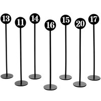 American Metalcraft NSB20 Black Stamped Out Number Table Stand Set - Numbers 11-20