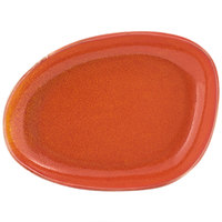 Front of the House DSP032ORP23 Kiln 8 inch x 6 inch Blood Orange Porcelain Oval Plate - 12/Case